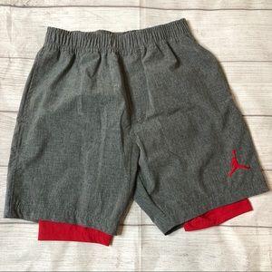 Air Jordan Boys Medium 10-12 Gray & Red Shorts
